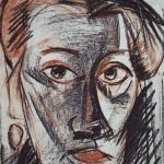 Автопортрет, бумага, соус сангина, 37х28см, 1983 г., Находится в Приморской картинной галерее