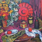 """""""Полевые цветы с красным подносом и бутылками"""", холст-масло, 74-106см, 2004 г."""